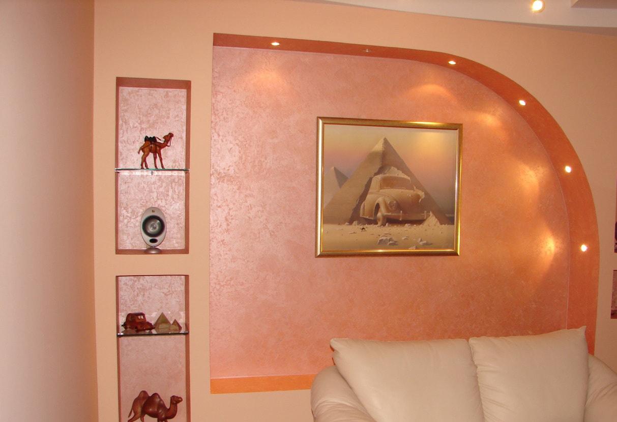 Венецианская штукатурка в гостиной