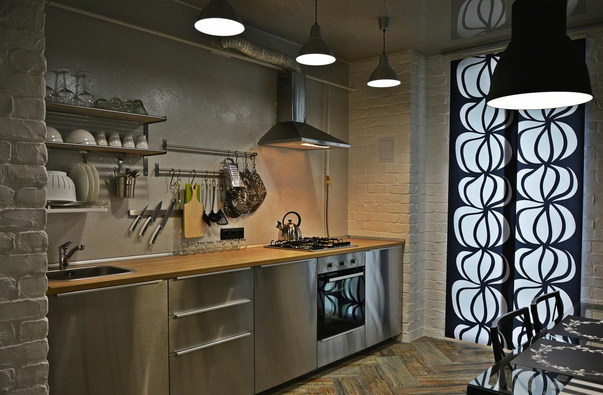 Декоративная шукатурка на стенах кухни