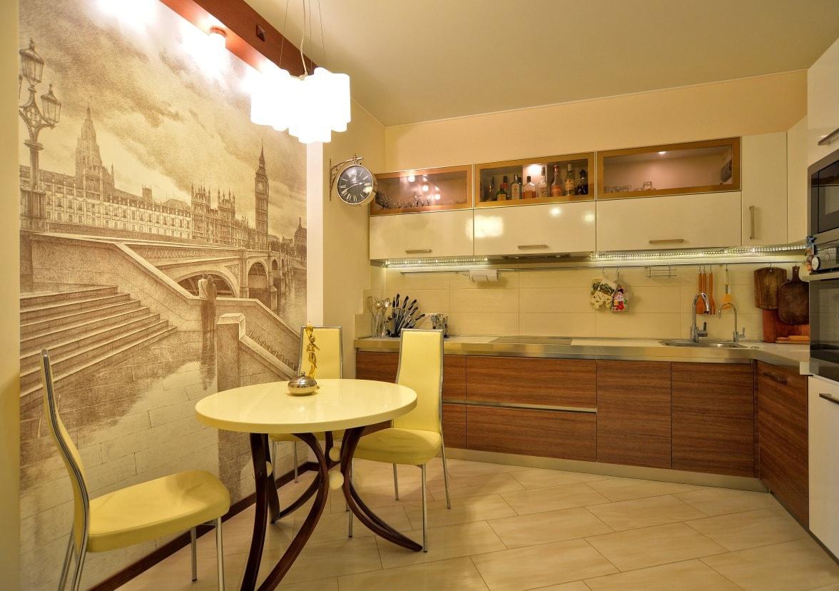 Фотообои на стенах кухни