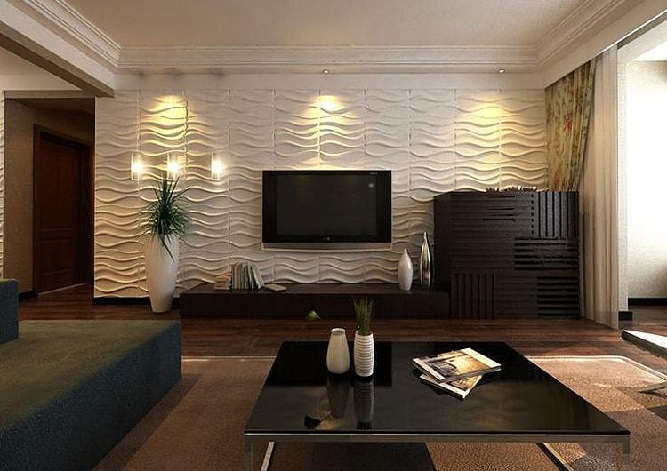 Отделка стен в гостиной стенновыми панелями
