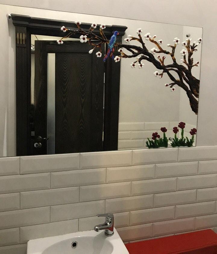Фьюзинг на зеркале в ванной
