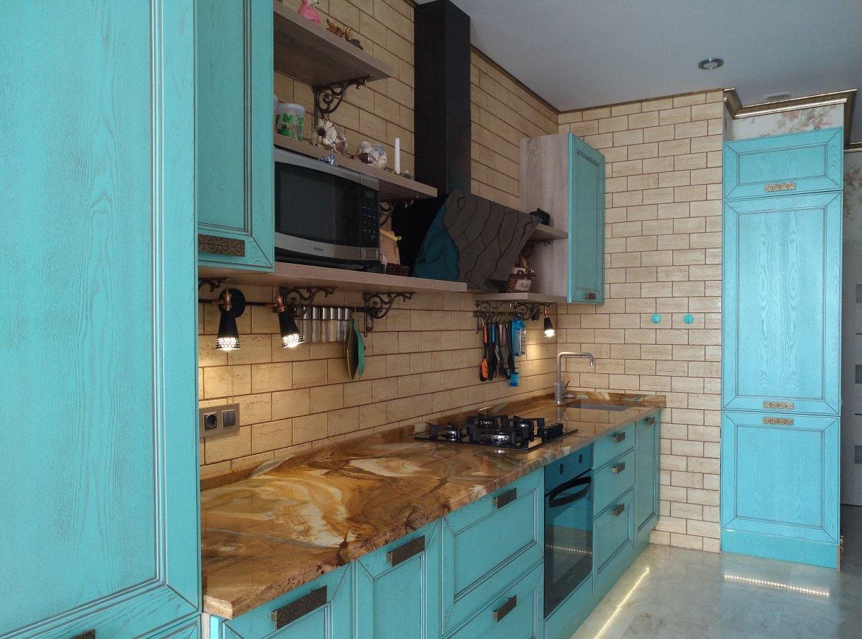 Фартук на кухне из клинкерной плитки