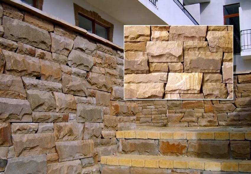 Отделка фасада камнем используя кладку кастл