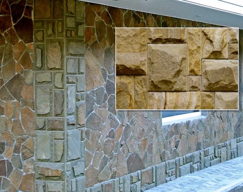 Отделка фасада камнем используя кладку плато